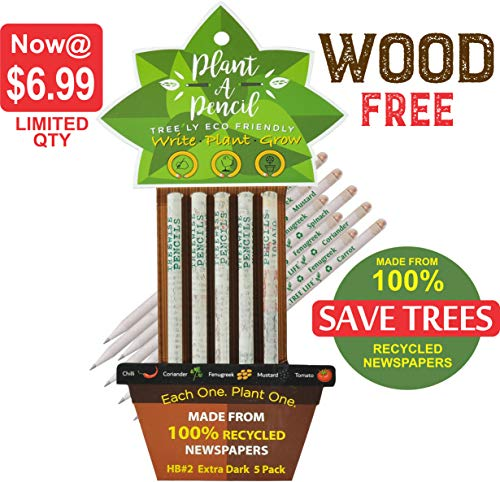 WOOD FREE PLANTABLE PENCIL HB#2 EXTRA DARK l Pack of 5 Made From 100% Recycled Newspapers l 100% Eco Friendly l 5 Assorted Seeds- TOMATO | FENUGREEK | CORIANDER | CHILI | MUSTRAD, GIFT @ SPECIAL PRICE