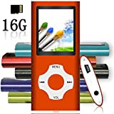 Tomameri - Portable MP3 / MP4 Player with Rhombic Button, Including a 16 GB Micro SD Card and Support up to 32GB, Compact Music & Video Player, Photo Viewer, Video and Voice Recorder Supported -Orange
