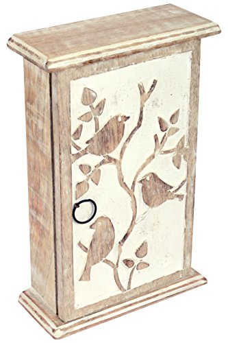 SAAGA Wooden Key Holder with Key Hooks Wall Hanging with Bir
