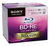 Sony Blu-ray Disc 20 Pack - 25GB 2x Speed BD-RE Version 2.1 - White Inkjet Printable