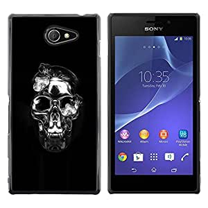 MobileHut / Sony Xperia M2 / Crystal Skull Black Silver Death Metal / Delgado Negro Plástico caso cubierta Shell Armor Funda Case Cover