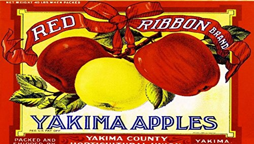 Red Ribbon Yakima Washington State Apple Fruit Crate Label Art Print