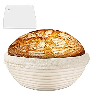 """Yibaision Banneton Proofing Basket, 9"""" Bread Proving Basket with Cloth Liner, Dough Scraper, Perfect Bread Bowl for Professional & Home Bakers"""