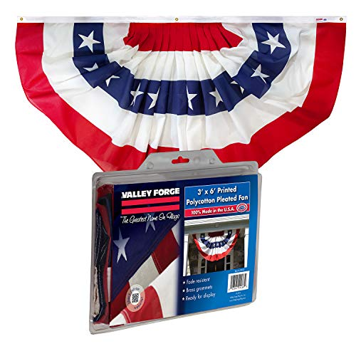 Valley Forge, American Flag Bunting Banner, Polyester, 3' x 6', Pleated Fan Flag with Stars and -