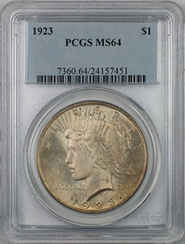 1923 Peace Silver Dollar Coin $1 PCGS MS-64 Light Toning (2D)