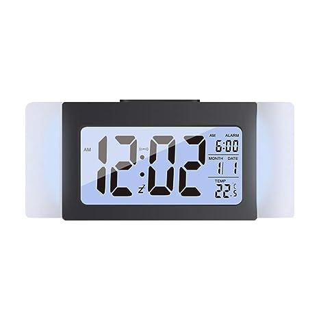 LIOOBO Led Digital Reloj Despertador Pantalla LCD Temperatur Radio FM Fecha Mute Reloj Mesa Reloj Despertador