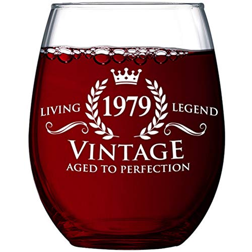 Vintage 1979 Stemless Wine Glass 40th Birthday Gifts for Women and Men | 40 Year Old Funny Gift Ideas | Party Decorations for Him, Her, Husband, Wife, Mom, Dad, Grandma, Grandpa, Boss, Aunt & Uncle