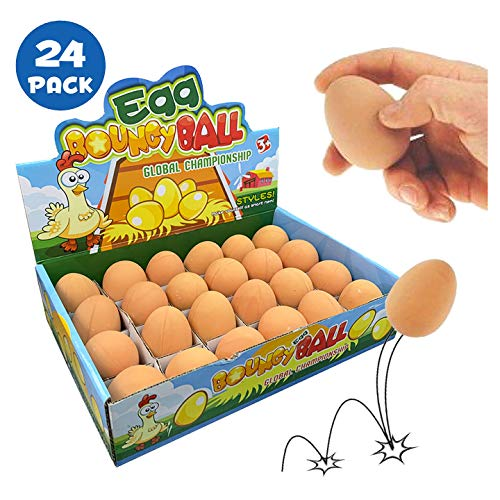 Liberty Imports Bulk Set of 24 Pcs Bouncy Eggs Realistic Fake Rubber Bouncing Balls (Brown)