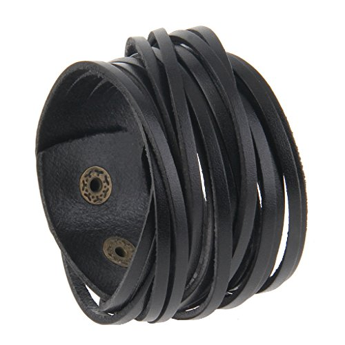 Wide Cuff Bangle (Jenia Multilayer Unisex Braided Leather Bracelet Wrap Genuine Leather Wristband Wide Cuff Bangle)