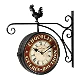Cheap Joveco Round Black Rooster Iron Vintage Inspired Double-Sided Wall Clock with Scroll
