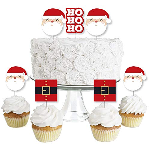 Jolly Santa Claus - Dessert Cupcake Toppers - Christmas Party Clear Treat Picks - Set of 24