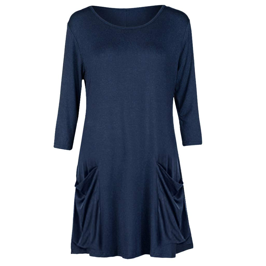 Pure Color Dresses for Women with Pockets ❤️ (XXXL, Navy)
