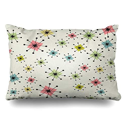 Ahawoso Throw Pillow Cover King 20x36 Pattern Vintage Atomic Stars Retrostylized Retro Kitsch Boomerangs Zippered Cushion Pillow Case Home Decor Pillowcase