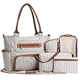 Kyпить SoHo diaper bag Grand Central Station 7 pieces set nappy tote bag large capacity for baby mom dad stylish insulated unisex multifuncation waterproof includes changing pad stroller straps Stripe White на Amazon.com