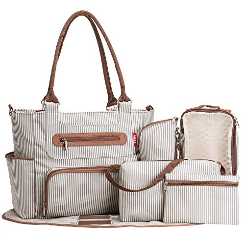 SoHo diaper bag Grand Central Station 7 pieces set nappy tote bag large capacity for baby mom dad stylish insulated unisex multifuncation waterproof includes changing pad stroller straps Stripe (4 Piece Diaper)