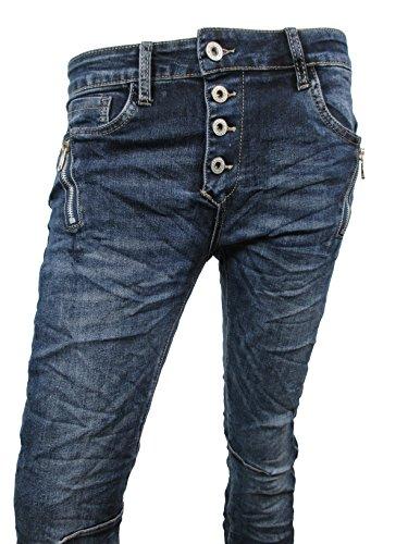 Zip Denim Stretch Baggy-Jeans boyfriend schräge Naht 4 Knöpfe offene Knopfleiste (S-36, Dark Denim)