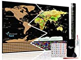 Large Scratch Off Travel Map of the world Poster by ShrewdYard - Scratchable country flags and USA states - keep track of the places you've visited around the globe - detailed borders, for travellers!