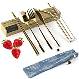 Ecotrusty Travel Cutlery Set with Case, Reusable Knife Fork Spoon Chopsticks Straw Set, Portable Silverware with Straws Utensils for Lunchbox, Camping Flatware (8 Pcs Gold)