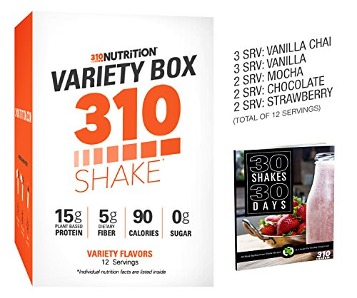 310 Shake Variety Box - 12 Individual Servings - Find Your Favorite Flavor, Choose From Chocolate, Vanilla, Vanilla Chai, Strawberry, and Mocha (Variety Box (310 Natural)