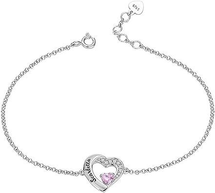 Personnalisé Infinity Pierre de naissance Bracelet Argent Nom bracelet pour femmes