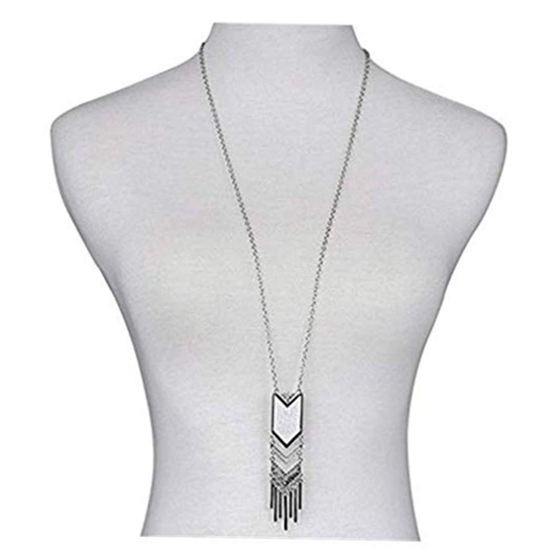 Long Tassel Necklace Pendant Handmade Sweater Chain Bohemian Jewelry for Women Girls (Silver)