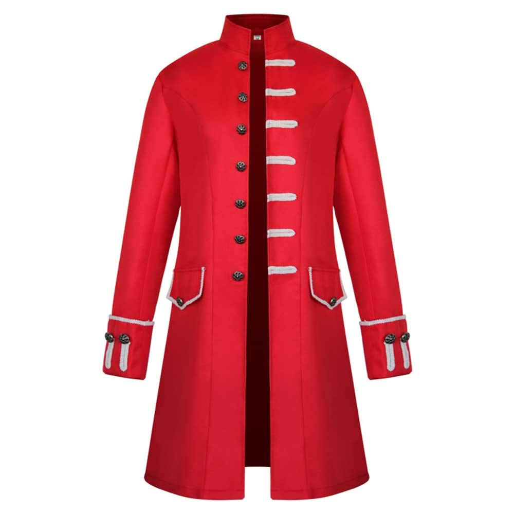 Men Steampunk Victorian Frock Coat Retro Gothic Halloween Cosplay Costume Uniform Jackets (M, Red) by sweetnice man clothing