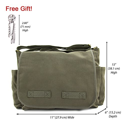 Army Force Gear Classic Messenger Bag, Olive with Silver FREE Punisher Tool