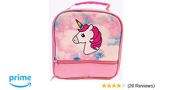d4da31bb2e04 Amazon.com  Unicorn Lunch-Box for Girls. Pink Lunch Bag with Rainbow Horn.  Large School Lunch-Boxes