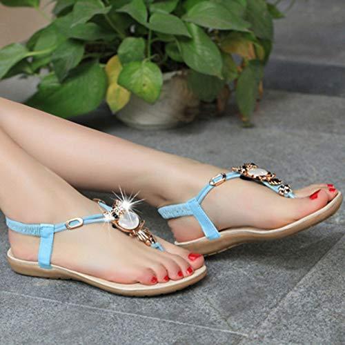Donna a Scarpe Sandali A Bmeigo Estivo Elastiche Clip Cinture per Blue da Boho Appartamento Romana Infradito da T Strass Cinturini Spiaggia qxSww5TY
