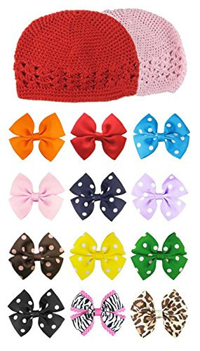 HipGirl 14pc Hand Made Girls 100% Cotton Crochet Kufi Hats and 3.5 Pinwheel Hair Bow Clips. Size Large (Appox. 8-9), Interchangable–Color May Vary