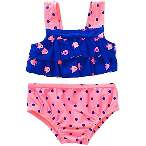 Carter's Newborn Infant Girls Fish and Polka Dots 2 Piece Swimsuit (9-12m) - Infant Girls Carters Sunsuit