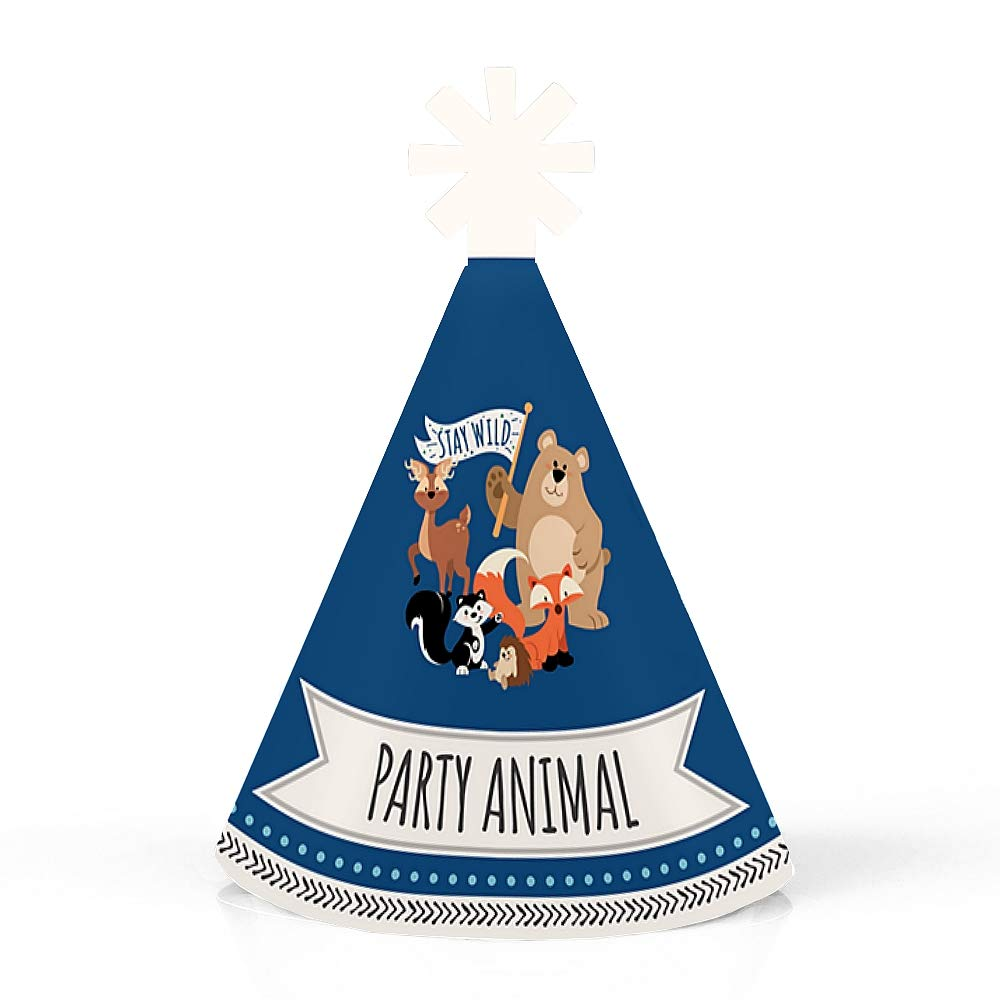 Set of 10 Forest Animals- Mini Cone Woodland Baby Shower or Birthday Party Hats Stay Wild Small Little Party Hats