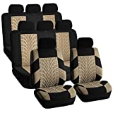 FH GROUP FH-FB071128 Complete Three Row Set Travel Master Seat Covers Beige / Black , (Airbag Ready & Rear Split) - Fit Most Car, Truck, Suv, or Van FH Group Seat Covers