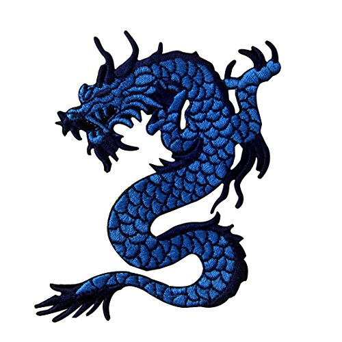 Blue Embroidered Dragon (Blue Dragon Embroidered Applique Iron On Sew On Patch)