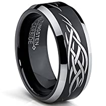8MM Black Mens Tungsten Ring with Laser Etched Tribal Design Sizes 7 to 13