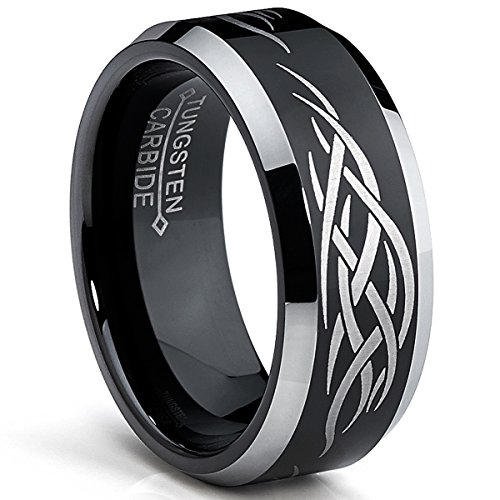 Design Tungsten Etched - Bonndorf 8MM Black Men's Tungsten Ring with Laser Etched Tribal Design Size 13