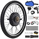 Goplus 48V 1000W Electric Bicycle Kit, 26'x1.95' Front/Rear Wheel E-Bike Cycle Motor Conversion Kit Hub Motor Wheel with Intelligent Controller, LCD Display and Speed Adjustable