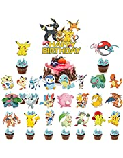 25PCS pokemon pikachu Cake Topper Cupcake Toppers Happy Birthday Party Supplies Cupcake Decorations for Kids