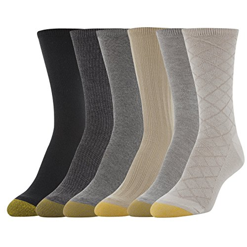 Gold Toe Women's Casual Texture Crew Socks, 6 Pairs, String Diamond Plaid/Grey Heather Herring/ Khaki Tuckstitch Ribs/Grey Heather Diamonds/Charcoal Plaid/Solid Black, Shoe Size: (Charcoal Grey Khaki)