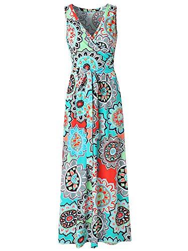 Crossover Bodice Dress (Sepomisdo Womens V Neck Bohemian Printed Wrap Bodice Sleeveless Crossover Maxi Dress)