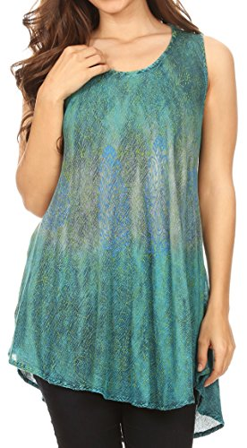 Sakkas 18804 - Isabela Womens Everyday Summer Sleeveless Tank Top Tie-Dye & Block Print - Turq - OS