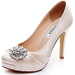 LUXVEER High Heel Women Shoes Satin Wedding Shoes with Rhinestone Bridal Shoes Dress Sheos Closed Toe Champagne Wedding Shoes - Heels 4.5 inch-RS-9805-EU38 Wedding Shoes