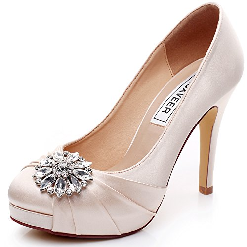 Satin 5 Shoes High Bridal Shoes Heel LUXVEER 4 Shoes with inch Wedding Champagne 9805 Rhinestone RS Sheos Women Dress wxHBIqq1g