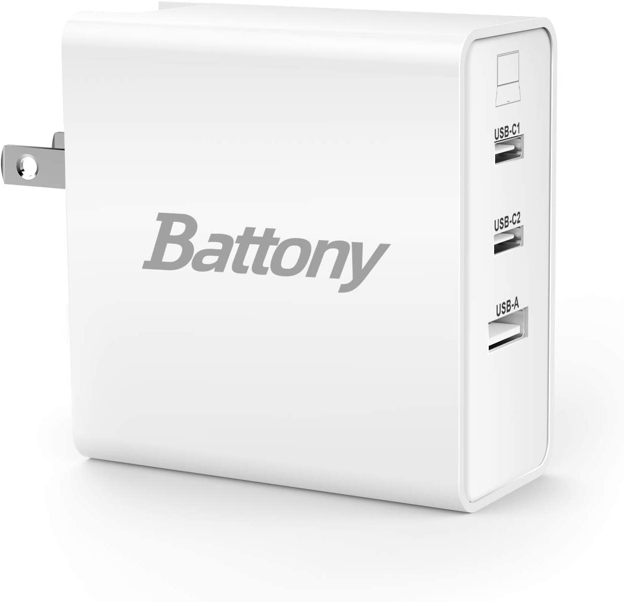 BATTONY USB C Charger 65W 3-Port USB C Wall Charger GaN Tech ETL Certification Compatible with iPhone 12 Mini Pro Max ipad MacBook Pro Air Galaxy and More