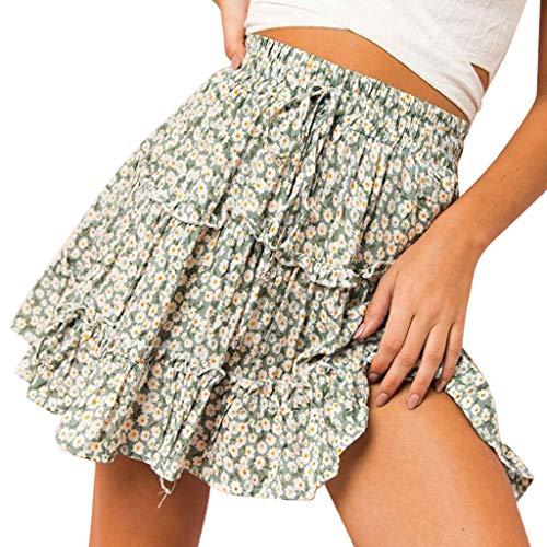Sunhusing Women Ribbons Lace-Up Broken Floral Ruffles Print Beach Daily Casual Layered Short Mini Skirt ()