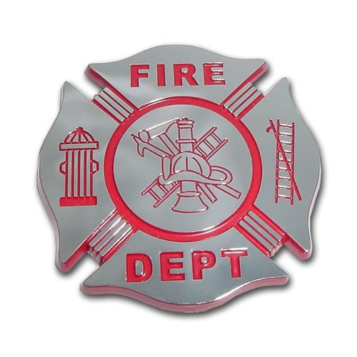 Fire Department Firefighter Maltese Cross Premium Red & Chrome Plated Metal Car Truck Motorcycle
