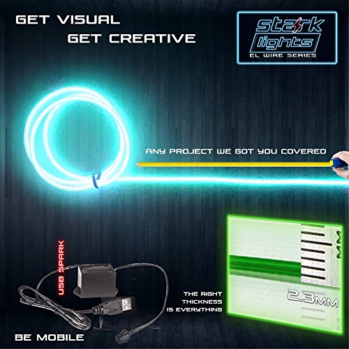 3m/9.8ft Large 2.3 mm Thick - Teal Neon LED Light Glow EL Wire - Powered by USB Port - Electroluminescent Wire String Light for DIY Project Costume Accessories Cosplay