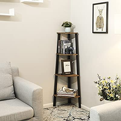 VASAGLE Industrial Corner Rack, 4-Tier Ladder Shaped Bookcase for Home Study, Free Standing Storage Shelves