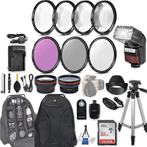 58mm 28 Pc Accessory Kit for Canon EOS T6i, T7i, 77D, T6s, 750D, 800D, 760D DSLRs with 0.43x Wide Angle Lens, 2.2x Telephoto Lens, LED-Flash, 32GB SD, Filter & Macro Kits, Backpack Case, and More by 33rd Street