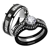HIS & HER 4PC BLACK & SILVER STAINLESS STEEL & TITANIUM WEDDING RING Band SET Size Women's 10 Men's 11